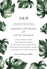 Elegant Palm Leaves - Wedding Invitation
