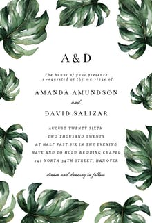 Elegant Palm Leaves - Wedding Invitation