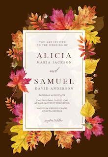 Fall Leaves Border - Wedding Invitation