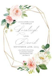Floral polygon frame - Wedding Invitation