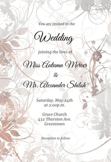 Fl Swirls Wedding Invitation