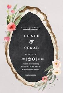 Floral wood slice - Wedding Invitation