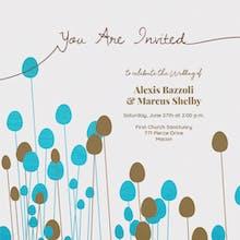 Flower Figures Gray - Wedding Invitation