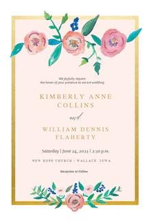 Flower on Gold - Wedding Invitation