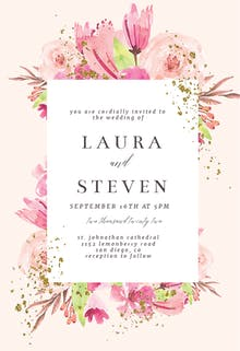 Flowers Gold Flakes - Wedding Invitation