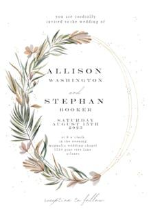 Garden wreath & rings - Wedding Invitation