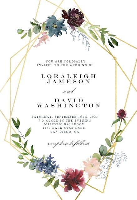 geometric  flowers  wedding invitation template free