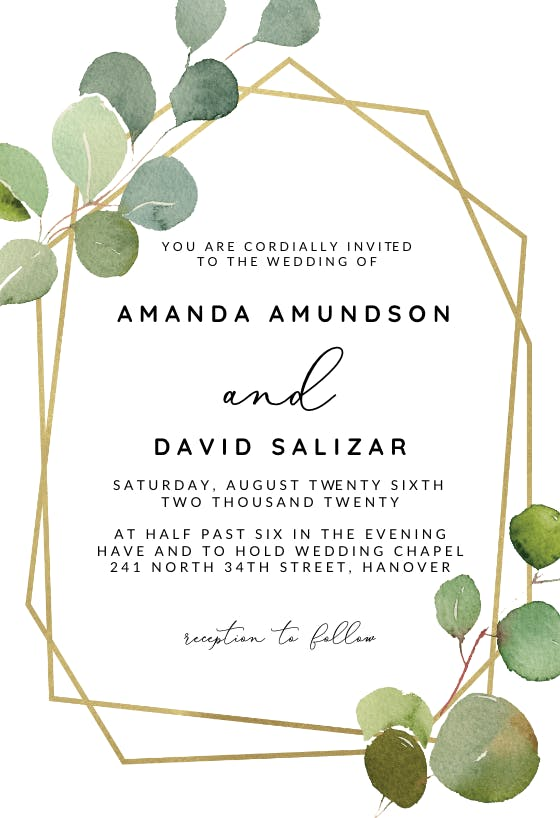 Eucalyptus Wedding Invitation Template Eucalyptus Greenery Wedding Invitation Template Green Eucalyptus Leaves Wedding Invitation Set