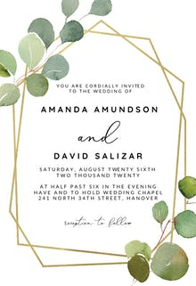 Geometric Eucalyptus - Wedding Invitation