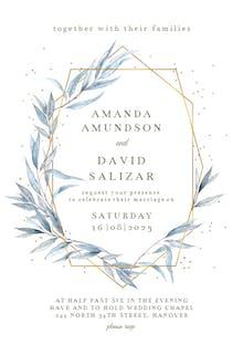 Geometric navy leaves - Wedding Invitation