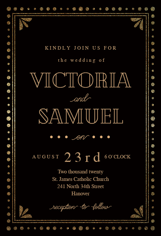 Gold amp Black Wedding Invitation Template free