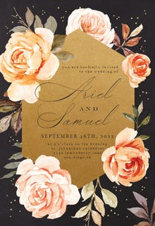 Gold and Roses - Wedding Invitation