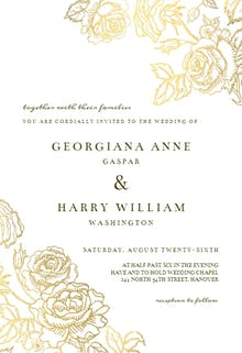 Gold Foil Roses - Wedding Invitation