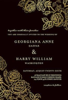 Gold Foil Roses - invitation