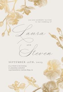 Gold Orchids - Wedding Invitation