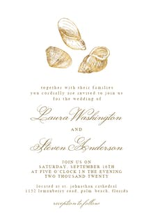 Gold Seashells - Wedding Invitation