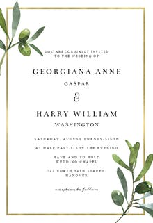 Golden frame & olive leaves - Wedding Invitation