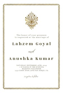 Golden paisley - Wedding Invitation
