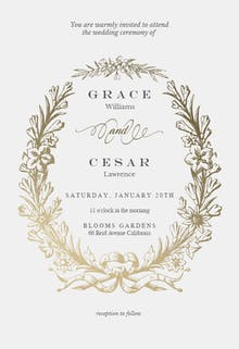 Golden Wreath - Wedding Invitation