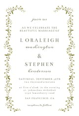 Green Leaf Border - Wedding Invitation