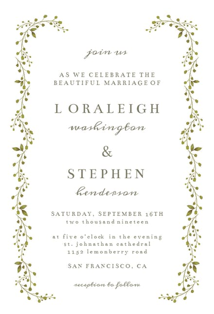 Green Leaf Border Wedding Invitation Template Free Greetings