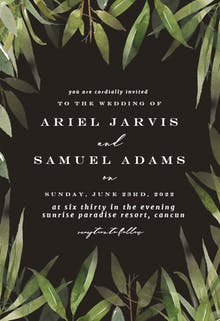 Green Watercolor Leaves - Wedding Invitation