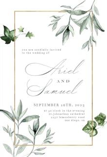 Greenery and Gold Frame - Wedding Invitation