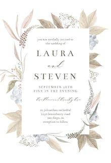 Grey Leaf Blue Berry - Wedding Invitation