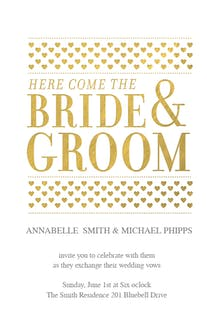 Here Comes The Bride And Groom - Invitación De Boda