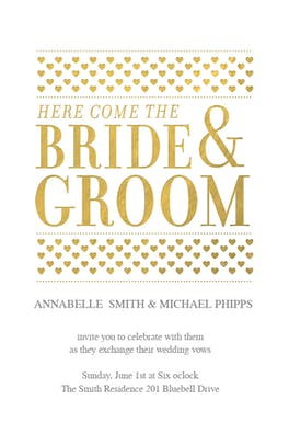 Here Comes The Bride And Groom - Wedding Invitation