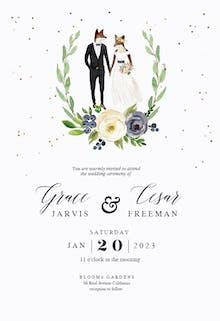 Hipster animal lovers - Wedding Invitation