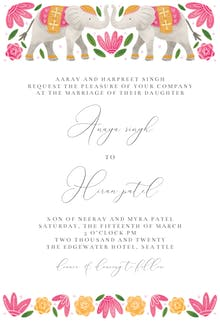 Indian elephants - Wedding Invitation