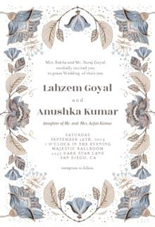 Indian floral ornament - Wedding Invitation