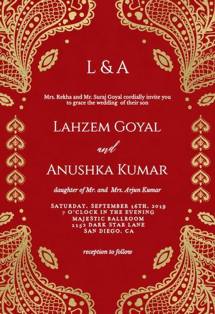 Indian Wedding Invitation Card Templates Free Greetings Island
