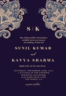 Indian floral - Wedding Invitation