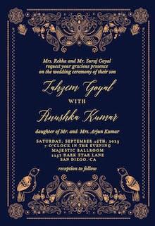 Indian paisley & birds - Wedding Invitation