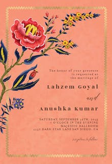Indian wild flower & frame - Wedding Invitation