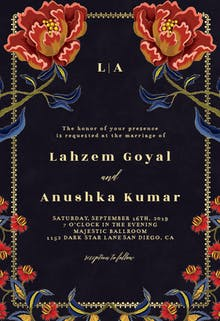 Indian flowers & frame - Wedding Invitation