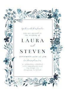 Indigo Flower Border - Wedding Invitation