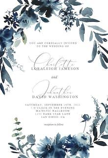 Indigo Flowers - Wedding Invitation