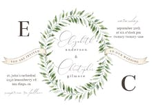 Leaf Border Ribbons - Wedding Invitation