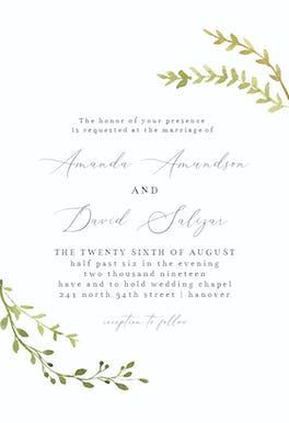 Leafy Corners - Wedding Invitation