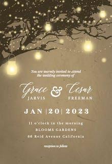 Lights on oak tree - Wedding Invitation