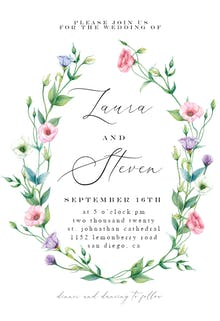 Lisianthus Wreath - Wedding Invitation
