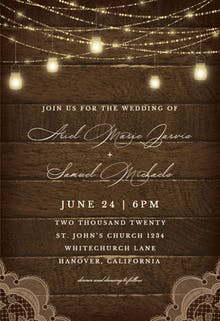 Mason jars lights - Wedding Invitation