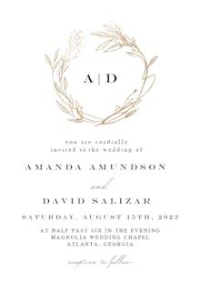 Monogram golden wreath - Wedding Invitation