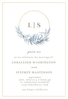 Monogram navy leaves - Wedding Invitation