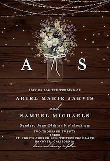Monogram wood - Wedding Invitation