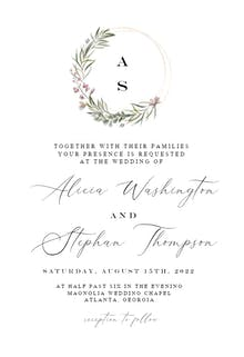 Monogram wreath - Wedding Invitation