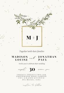 Olive leaves - Wedding Invitation